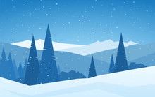 Winter Christmas Snowy Calm Mountains Landscape With Pines, Hills And Snowflakes.