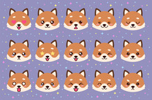 Colorful Vector Set Of Cute Fox Emoticons. Collection Isolated Funny Muzzle Fox With Different Emotion In Cartoon Style.