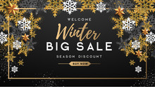 Winter Poster With Golden Christmas Snowflakes And Stars. Winter Big Sale Poster. Wiinter Background