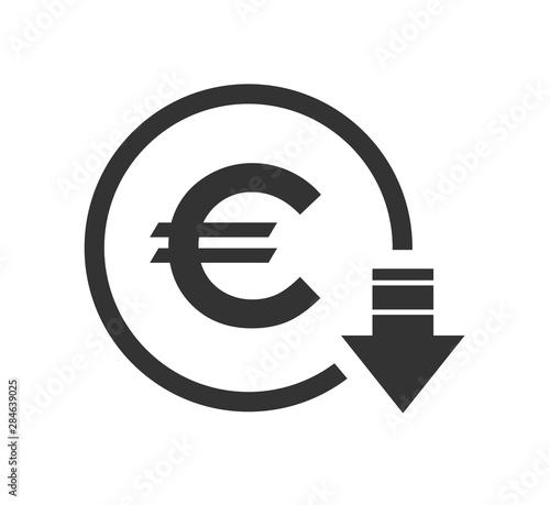 Cuadros en Lienzo Cost reduction- decrease euro icon