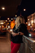 canvas print picture - Art portrait of a beautiful girl. gorgeous blonde girl, portrait in night city lights.