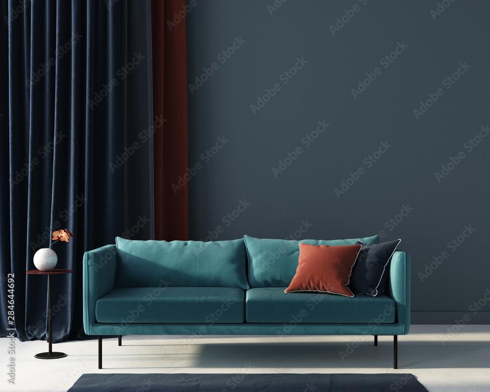 Fototapety, obrazy: Living room in blue with terracotta pillow. 3d render