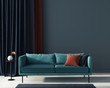 canvas print picture Living room in blue with terracotta pillow. 3d render