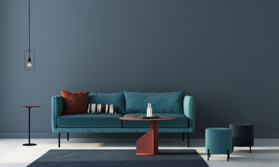 Living room in blue with terracotta tables. 3d render