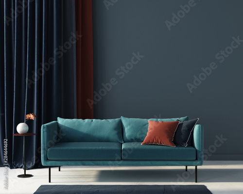 obraz dibond Living room in blue with terracotta pillow. 3d render