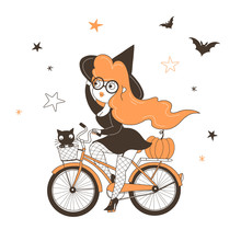 Witch Riding Bicycle Flat Vect...