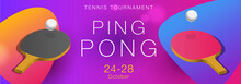 Ping Pong Tournament Poster Template With Balls And Racquets, Modern Graphic
