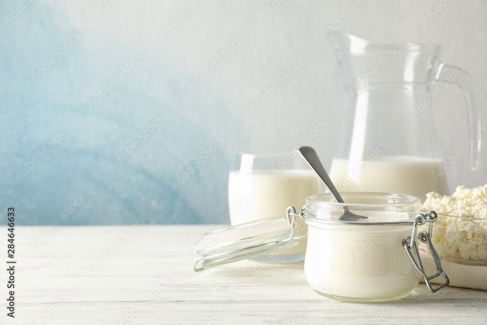 Fototapety, obrazy: Different dairy products on white wooden background, copy space