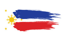Painted Brush The Flag Of The Philippines.  Independence Day.