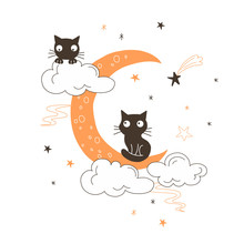 Black Cats On Moon Flat Vector...