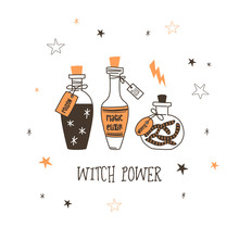 Witch Power Flat Vector Illustration. Witchcrafting, Alchemy, Sorcery Potion. Wizardry Beverage. Halloween Celebration. Bottles With Poison, Magic Elixir, Worms Isolated Design Element