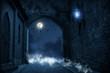 canvas print picture - mittelalterliche burg in der nacht