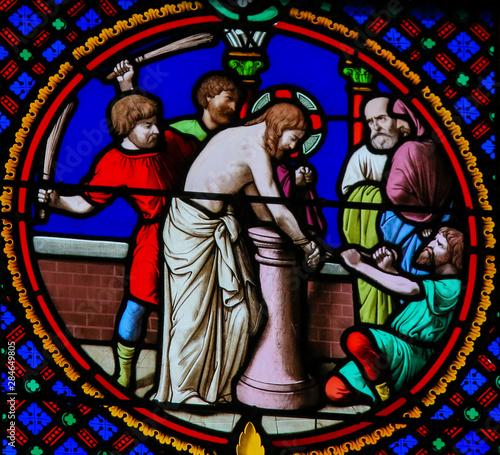 Canvastavla Stained Glass in Notre-Dame-des-flots, Le Havre - Flagellation of Jesus