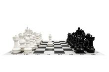 Chess Pieces On White