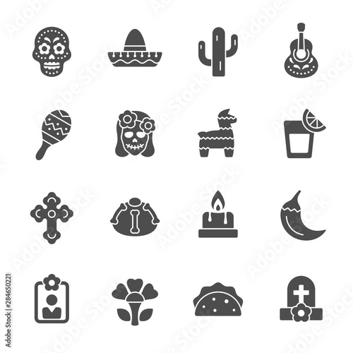 Foto Day of the Dead celebration vector icons
