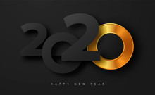 Merry Christmas And Happy New Year 2020 Banner With Golden Luxury Numbers And Text. Gold Festive Numbers Design. Vector Illustration