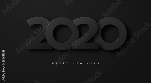 Obraz Merry Christmas and Happy new year 2020 banner with black luxury numbers and text. Festive Numbers Design. Vector illustration - fototapety do salonu