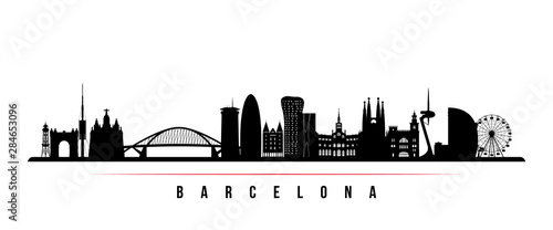 Barcelona City skyline horizontal banner Wallpaper Mural