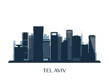 Tel Aviv Skyline, Monochrome S...