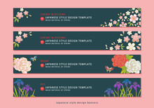 和柄素材 - 和風デザインバナー(桜・牡丹・菖蒲)