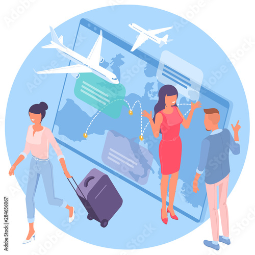Flat design isometric vector illustration for airline flight booking service advertisement, web application and mobile app template Wallpaper Mural
