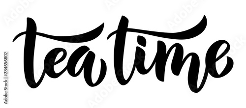 Fototapeta Tea time brush lettering hand-drawn composition. Black and white isolated minimalistic ink illustration for posters, cards and other. obraz