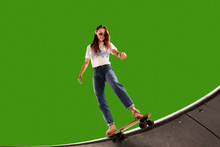 Skateboarder On Green Screen B...