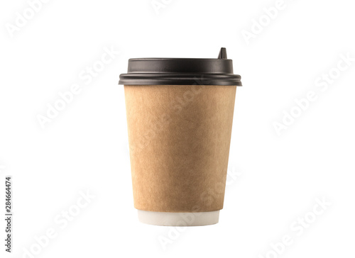Obraz Coffee cup isolated on white background - fototapety do salonu