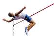 Leinwanddruck Bild - high jump athlete jumper over bar isolated on white background