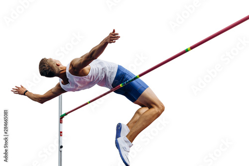 Photo high jump athlete jumper over bar isolated on white background