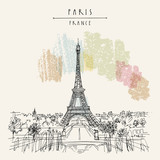 Fototapeta Fototapety Paryż -  Paris, France, Europe. Eiffel Tower. Artistic hand drawing in retro style. European travel sketch. Vintage hand drawn touristic postcard, poster or book illustration in vector