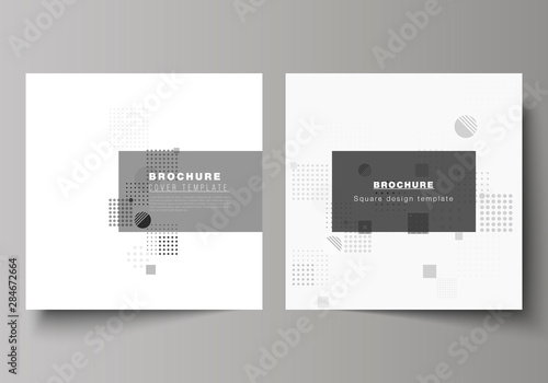 Fototapeta The minimal vector illustration of editable layout of two square format covers design templates for brochure, flyer, magazine. Abstract vector background with fluid geometric shapes. obraz
