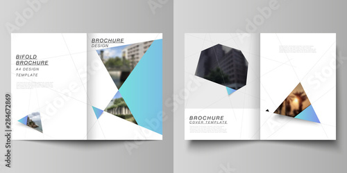 Photo sur Toile Les Textures The vector layout of two A4 format modern cover mockups design templates for bifold brochure, magazine, flyer, report. Creative background with blue triangles and triangular shapes. Simple design.