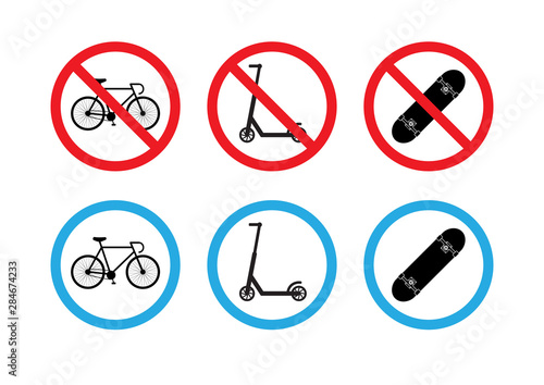 Fotomural  Vector flat set collection of road signs with scooter, skateboard and bicycle is