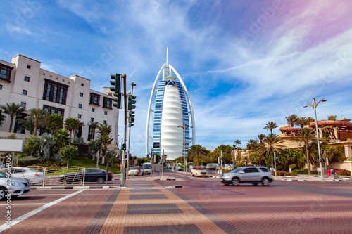 Burj Al Arab Hotel with street Canvas Print