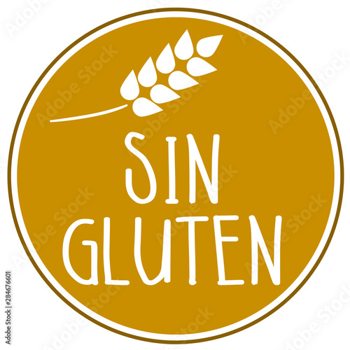Photo Illustration with the spanish word for gluten free - sin gluten isolated