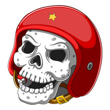 Skull In Red Helmet On White B...