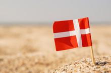 Danish Flag On The Beach