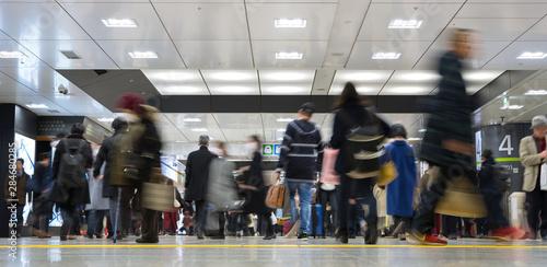 Passengers at Tokyo Railway Station 乗客が行き交う東京駅 - 284680285