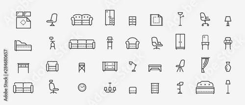 Fotomural  Furniture, line icons set