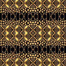 Metallic Ethnic Patchwork Gold...