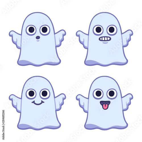 Valokuva  Cute cartoon ghost set
