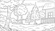 Coloring Book Landscape With House. Hand Draw Vector Illustration.