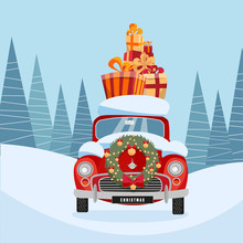 Flat Cartoon Illustration Of Retro Car With Present On The Roof. Little Classic Red Car Carrying Gift Boxes On Its Rack. Vehicle's Front Decorated With Wreath. Snow-covered Landscape With Firs