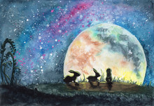 Watercolor Illustration Of Three Rabbits Or Hares In A Field With Grass, Looking On A Huge Colorful Moon And Bright Starry Sky