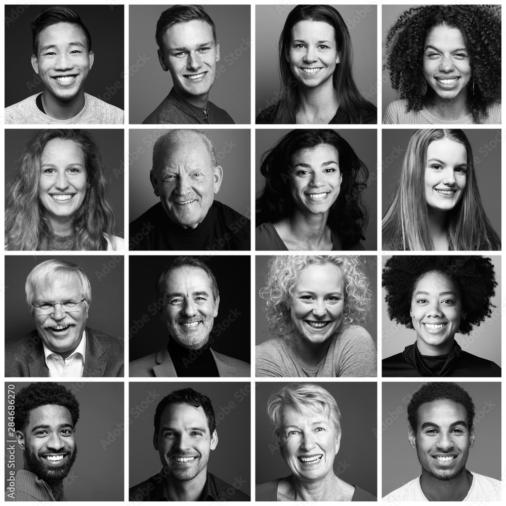 Fototapeta Group of beautiful people in a row in front of a dark background