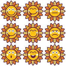 Vector Flowers Emoticon Setfor...