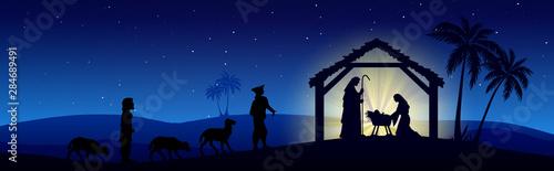 Fotografija Christmas Nativity Scene black silhouette on blue background