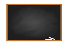 Black School Chalkboard In The Frame. Blank Clasroom
