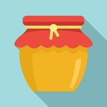 Honey Jar Icon. Flat Illustrat...